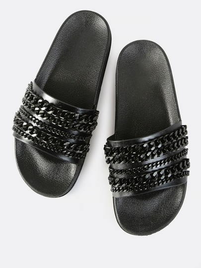 Sleek Chain Link Slides BLACK