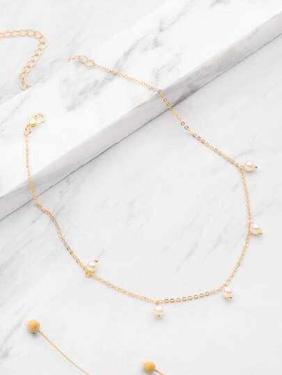 Collana a catena con perle sintetiche
