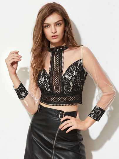 Band Collar Contrast Mesh Sleeve Lace Top