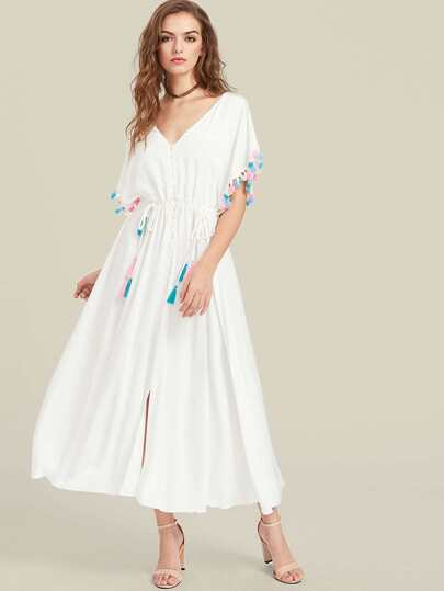 Tassel Trim V Back Drawstring Waist Batwing Dress