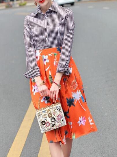 Plaid Flowers Print A-Line Dress