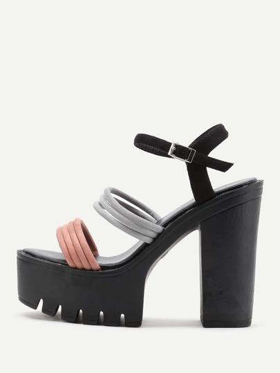 Contrast Strap Platform Heeled Sandals