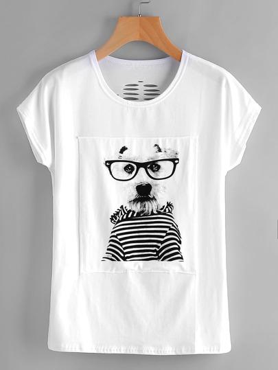 Модная футболка с принтом и разрезами