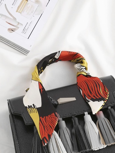 Fringe Print Satin Twilly Scarf