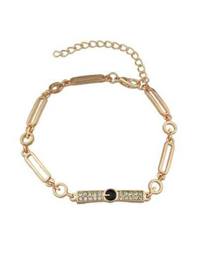 Gold Color Rhinestone Adjustable Chain Link Bracelets