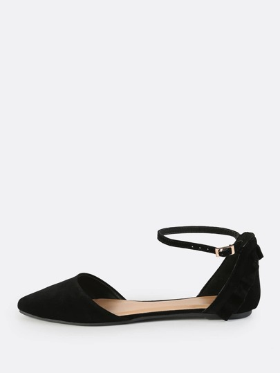 Frilly Back Faux Suede Flats BLACK