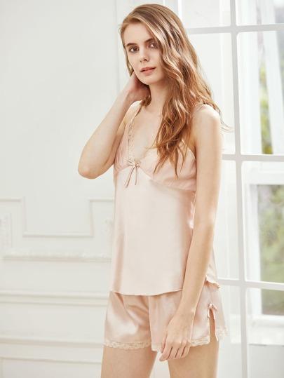 Lace Trim Tie Back Satin Cami Pajama Set