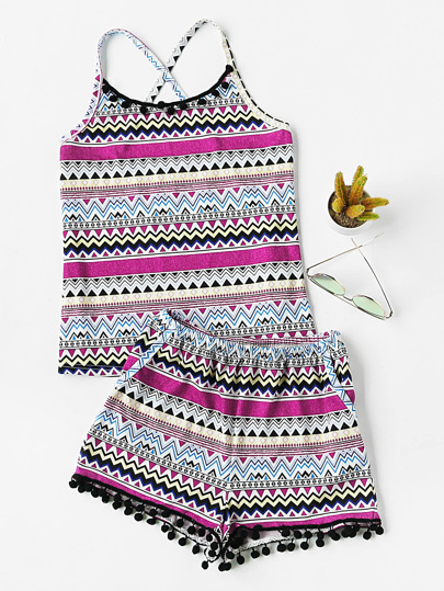 Pom Pom Trim Aztec Cami And Shorts Pajama Set