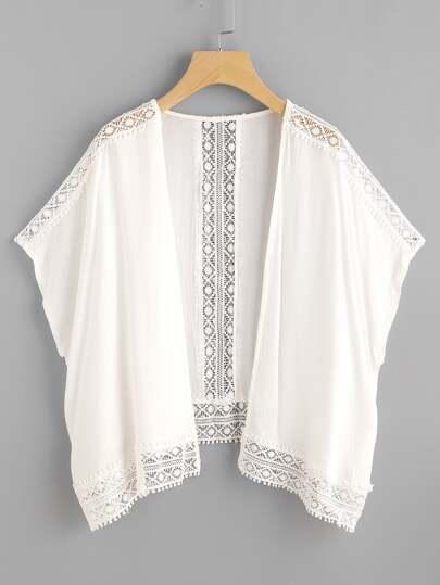 Kimono creux bicolore en crochet en dentelle