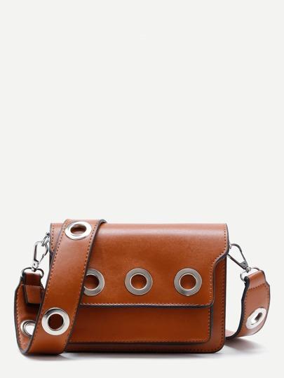 Grommet Design PU Shoulder Bag