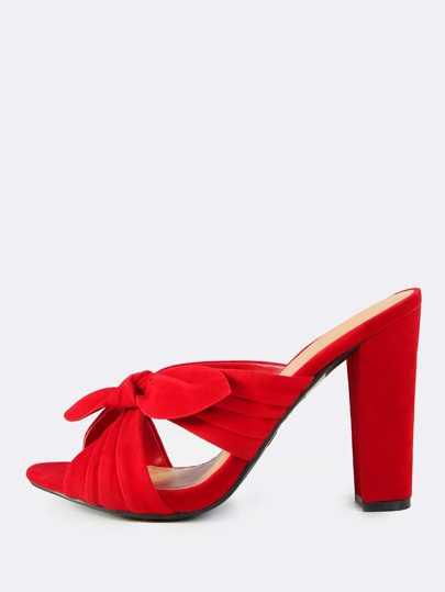 Faux Suede Bow Slip On Heels RED