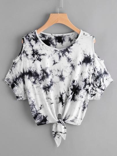 T-shirt tie-dye con spalle scoperte