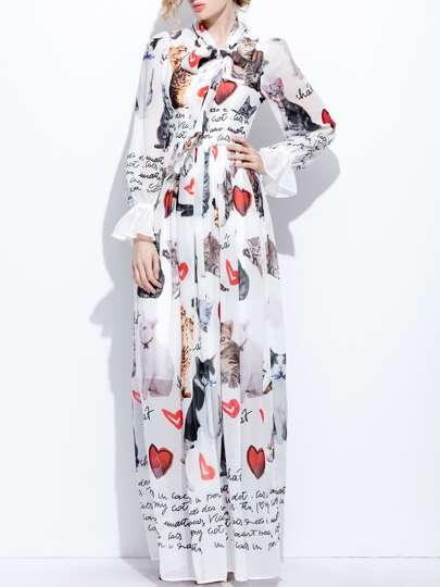 Kleid mit Schleife Katze&Herz Muster und Glockeärmeln