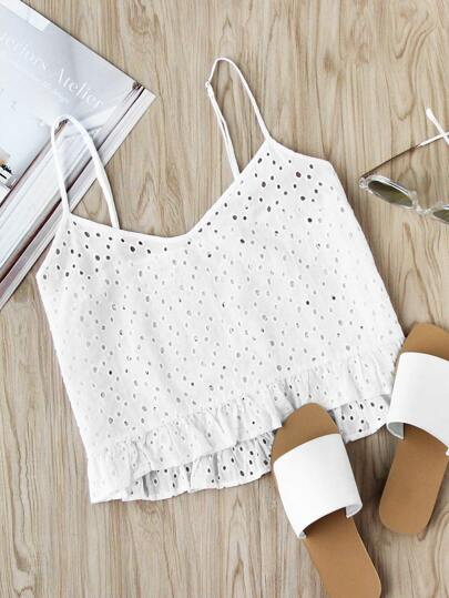 Eyelet Embroidered Frill Hem Cami Top