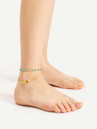 Turquoise And Sequin Detail Layered Anklet
