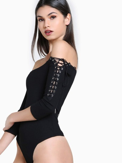 Lace Up Sleeve Bodysuit BLACK