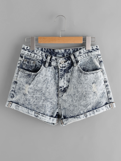 Shorts de lavado descolorido en denim