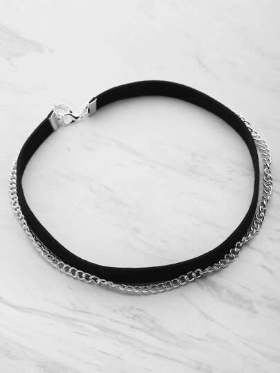 Double Layer Velvet And Chain Choker