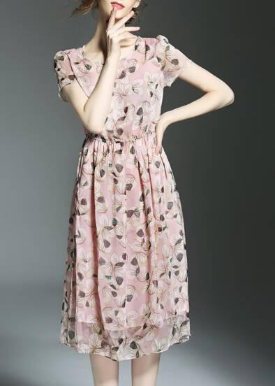 Flowers Print Elastic-Waist Dress
