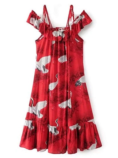 Cold Shoulder Ruffle Trim Dress
