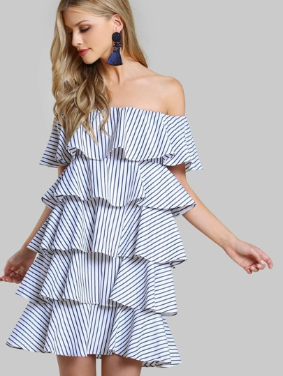 Off Shoulder Layered Pinstripe Dress