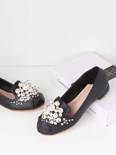 Faux Pearl Embellished Ballet Flats