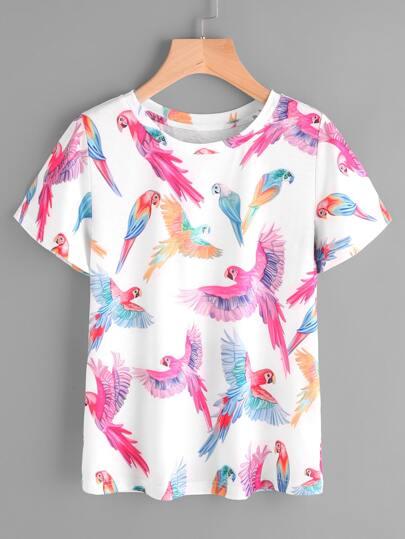 Allover Parrot Print T-shirt