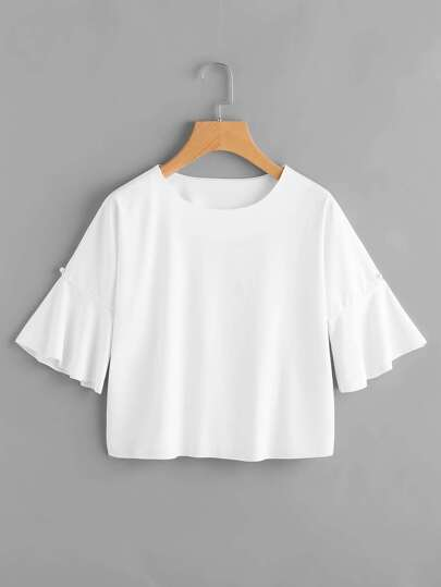 Bell Sleeve Tee With Faux Pearl Detail