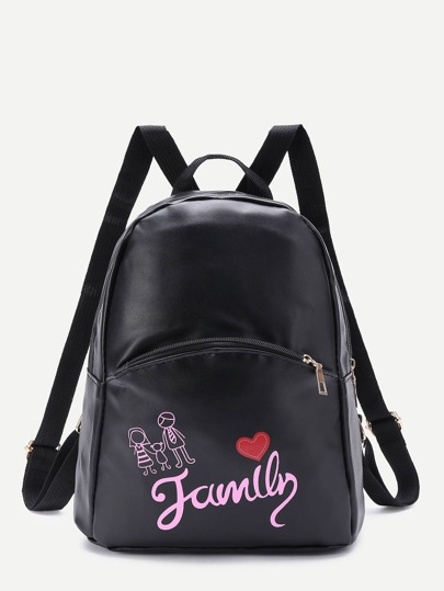 Letter And Cartoon Print PU Backpack