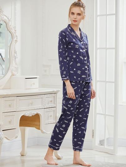 Leaf Print Revere Collar Pajama Set
