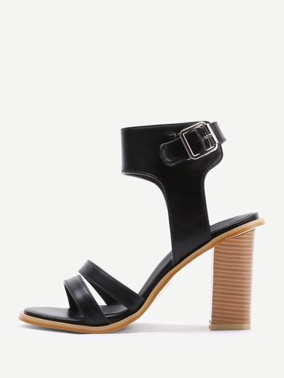 Open Toe Cork Heel PU Sandals