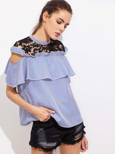 Contrast Crochet Yoke Open Shoulder Striped Flounce Top