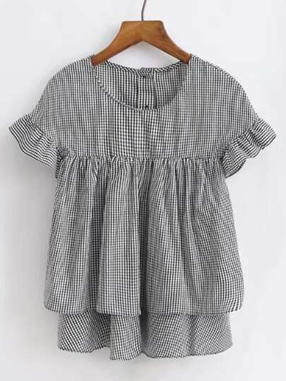 Ruffle Cuff Checked Layered Smock Top