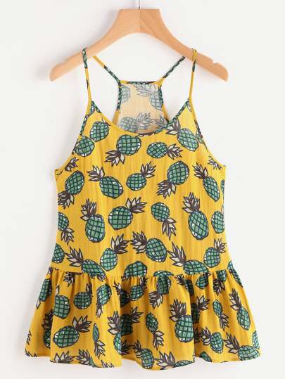 Allover Pineapple Print Racerback Tiered Hem Cami Top