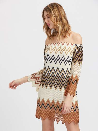 Off Shoulder Wave Print Dress