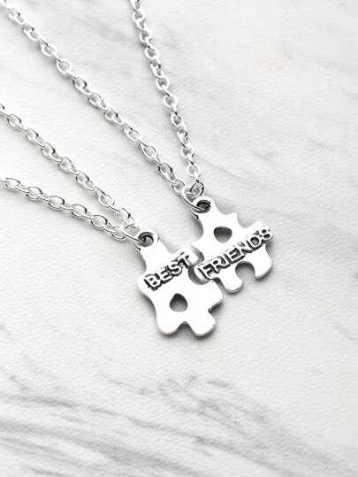 Puzzle Shaped Friendship Pendant Necklace 2pcs