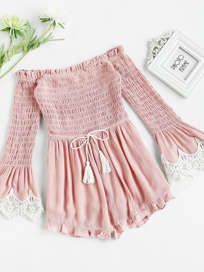 Smocked Bodice Drawstring Waist Lace Trim Bell Sleeve Romper
