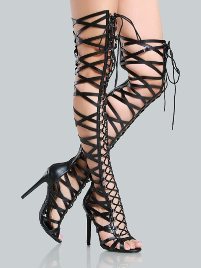 Caged Gladiator Thigh High Heels BLACK