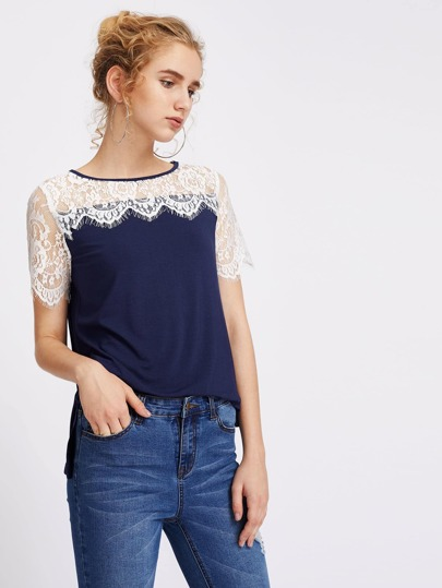 Illusion Eyelash Lace Shoulder Vented Hem T-shirt