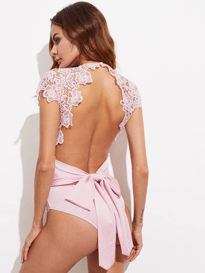Lace Overlay Bow Tie Open Back Bodysuit