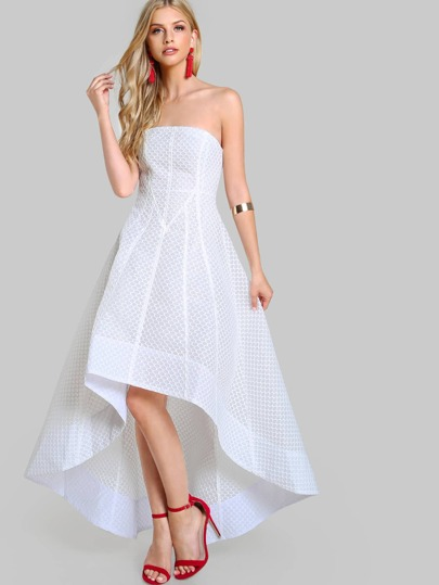 Beehive High Low Strapless Dress WHITE