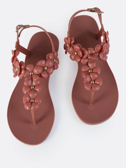 Floral Thong Jelly Sandals MAUVE