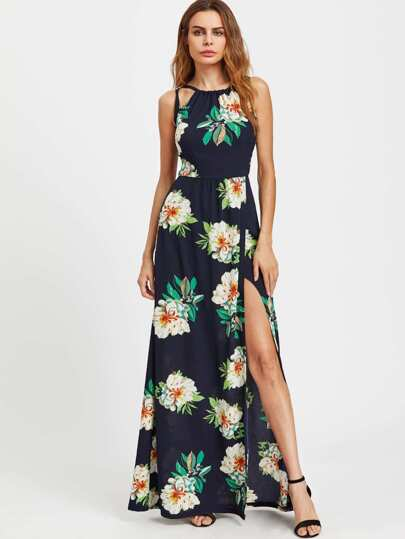 Floral Print Crisscross Backless Slit Dress
