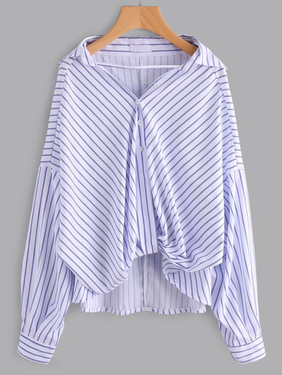 Striped Strappy Front Dip Hem Blouse