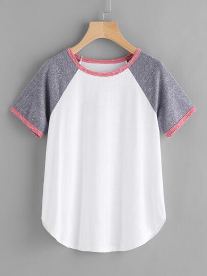 Camiseta de manga raglán con ribete en contraste