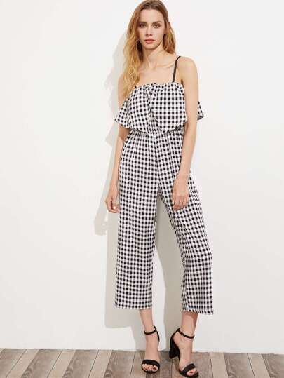 Gingham Layered Frill Trim Cami Jumpsuit