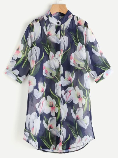 All Over Floral Print Sheer Blouse