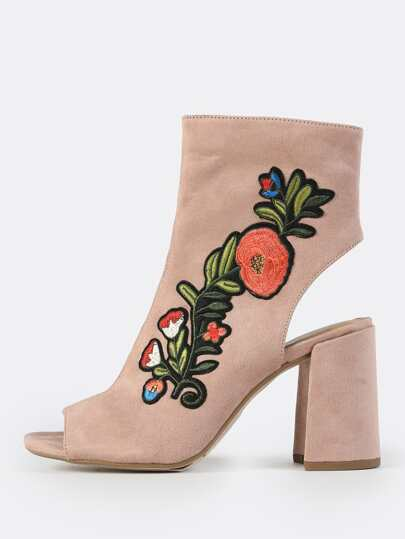 Embroidered Peep Toe Booties DARK MAUVE