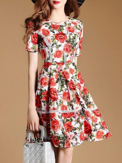 A-Linie Kleid mit Rosemuster und Netz