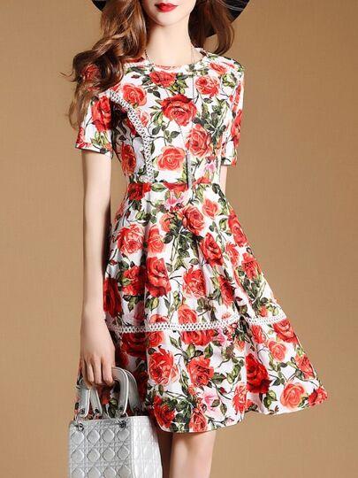Rose Print Mesh A-line Dress